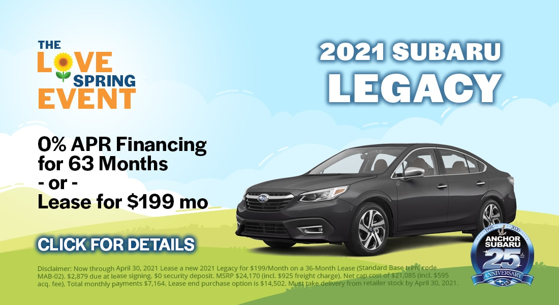 2021 Subaru Legacy - 0% APR Financing Available for 63 months. Lease for $199/month