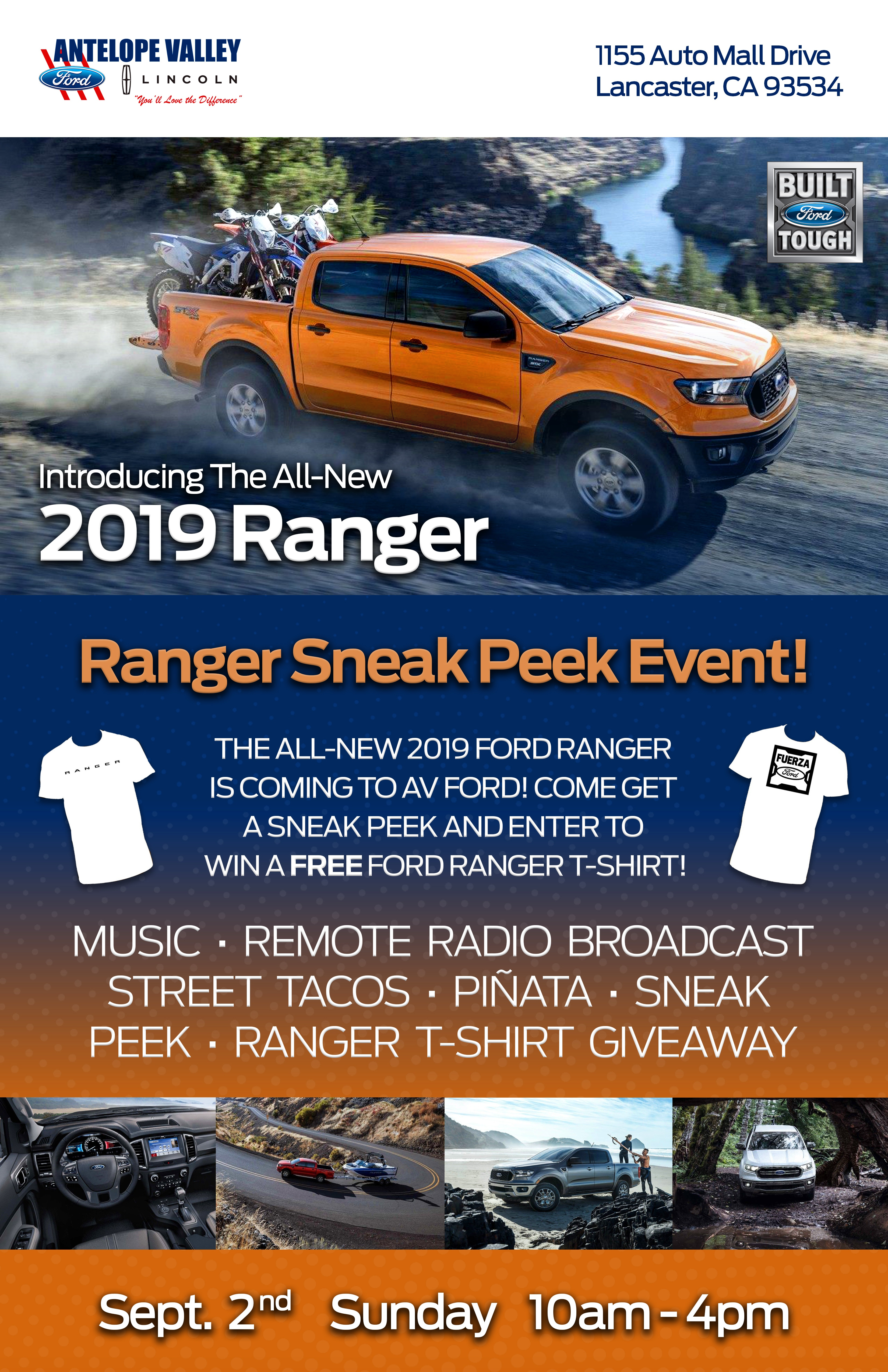 Join us for a  2019 Ford Ranger sneak peek event the at Antelope Valley Ford in Lancaster, CA