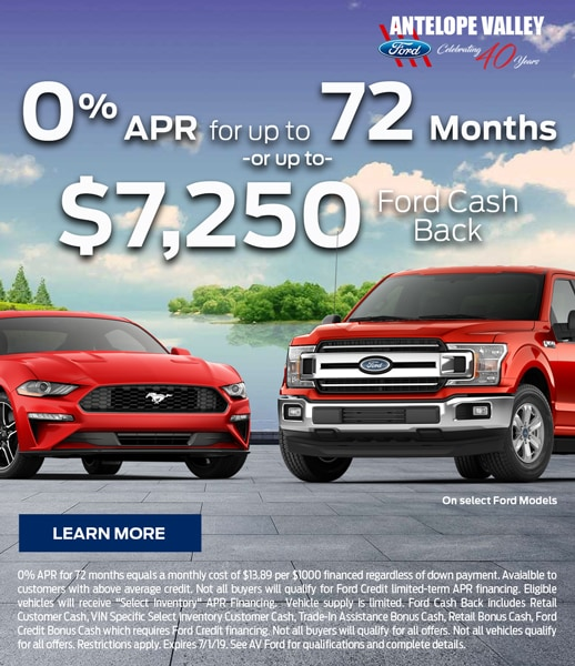 0% APR special rate offer and cash back on select new Ford models