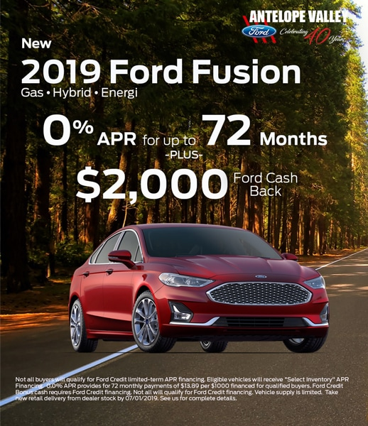 0% APR special offer PLUS $2000 on 2019 Ford Fusion at Antelope Valley Ford near Rosamond