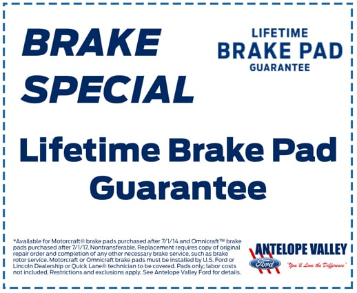 Lifetime Brake Pad Guarantee at Antelope Valley Ford