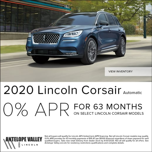 Special APR offer on new 2020 Lincoln Corsair at Antelope Valley Lincoln near Rosamond