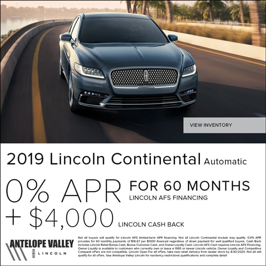 Special rates and cash back on 2019 Continental at Antelope Valley Lincoln near Palmdale