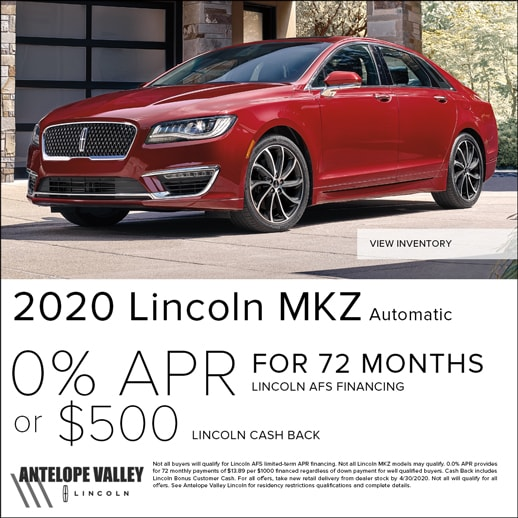 Special rates and cash back on Lincoln MKZ at Antelope Valley Lincoln
