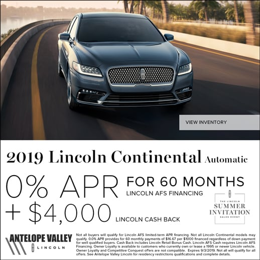 Special rates and cash back on Continental at Antelope Valley Lincoln near Palmdale