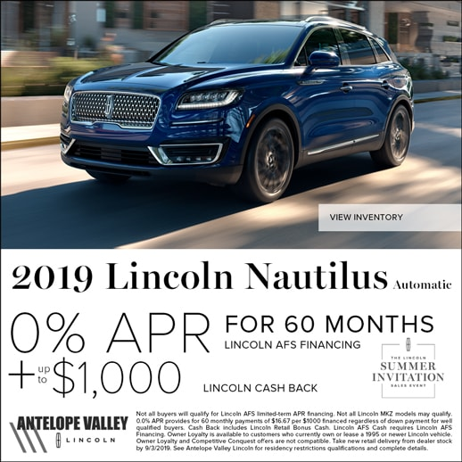 Special rates and cash back on Lincoln Nautilus at Antelope Valley Lincoln near Rosamond