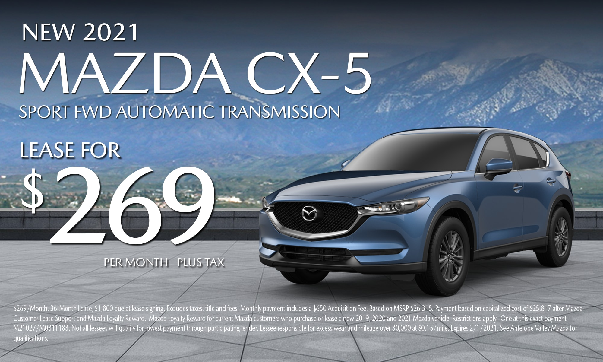 Antelope Valley Mazda Special lease offer on 2021 Mazda CX-5 Sport