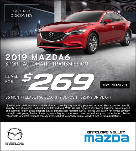 Lease an All-New 2019 Mazda6 Sedan for only $269/month at Antelope Valley Mazda!