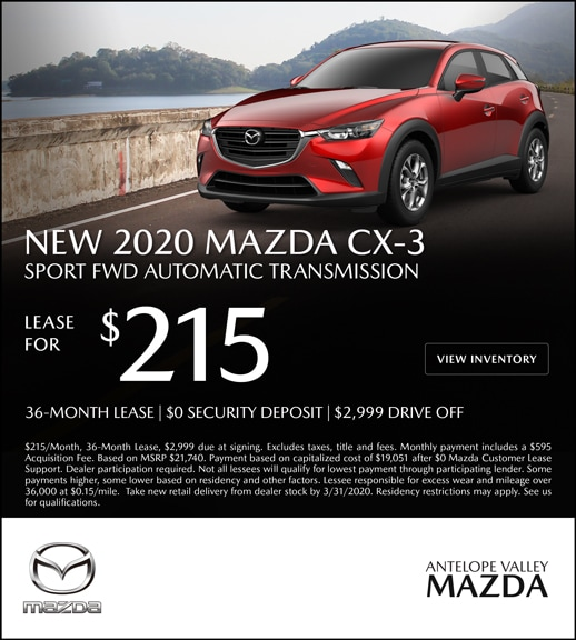 Special Lease offer on a New 2020 Mazda CX-3 at Antelope Valley Mazda!