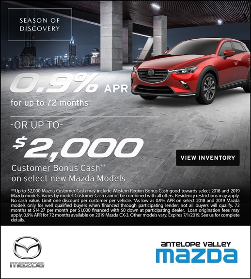 Special rate and cash back from Antelope Valley Mazda