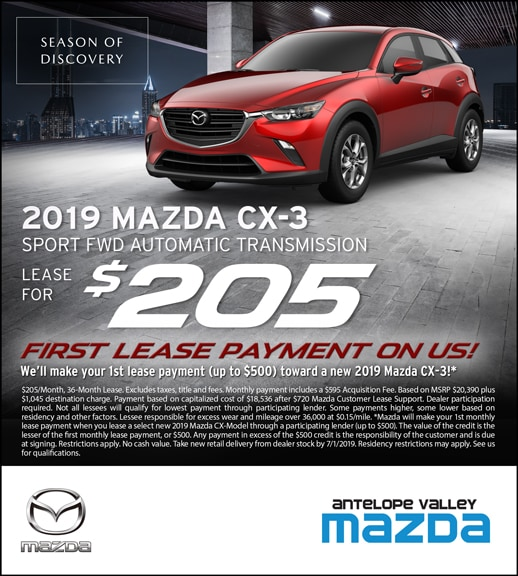 Lease special offer on 2019 Mazda CX-3 at Antelope Valley Mazda near Palmdale