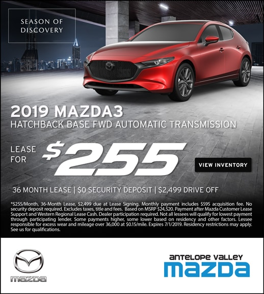 2019 Mazda3 Hatchback Lease Specials at Antelope Valley Mazda