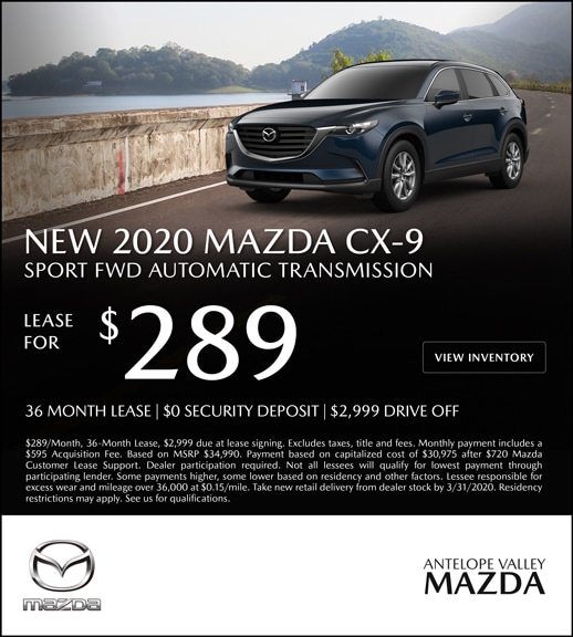 Special Lease offer on a New 2020 Mazda CX-9 at Antelope Valley Mazda!