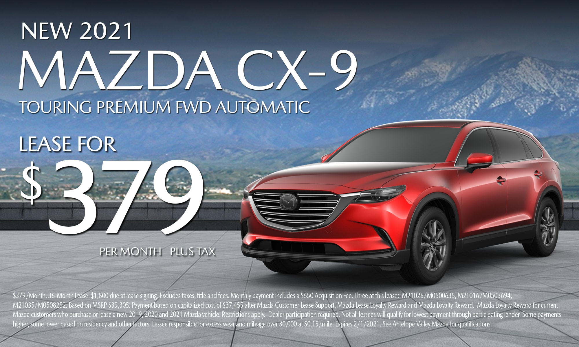 Antelope Valley Mazda Special lease offer on 2021 Mazda CX-9 Touring