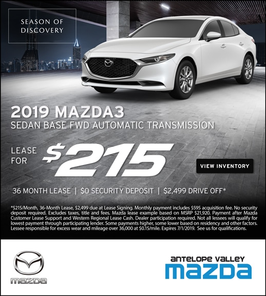 2019 Mazda3 Lease Specials at Antelope Valley Mazda
