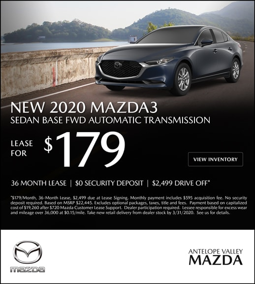 Special Lease offer on a New 2020 Mazda3 at Antelope Valley Mazda!