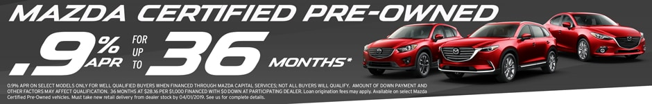 Special rate on Mazda Certified Pre Owned Used vehicles at Antelope Valley Mazda