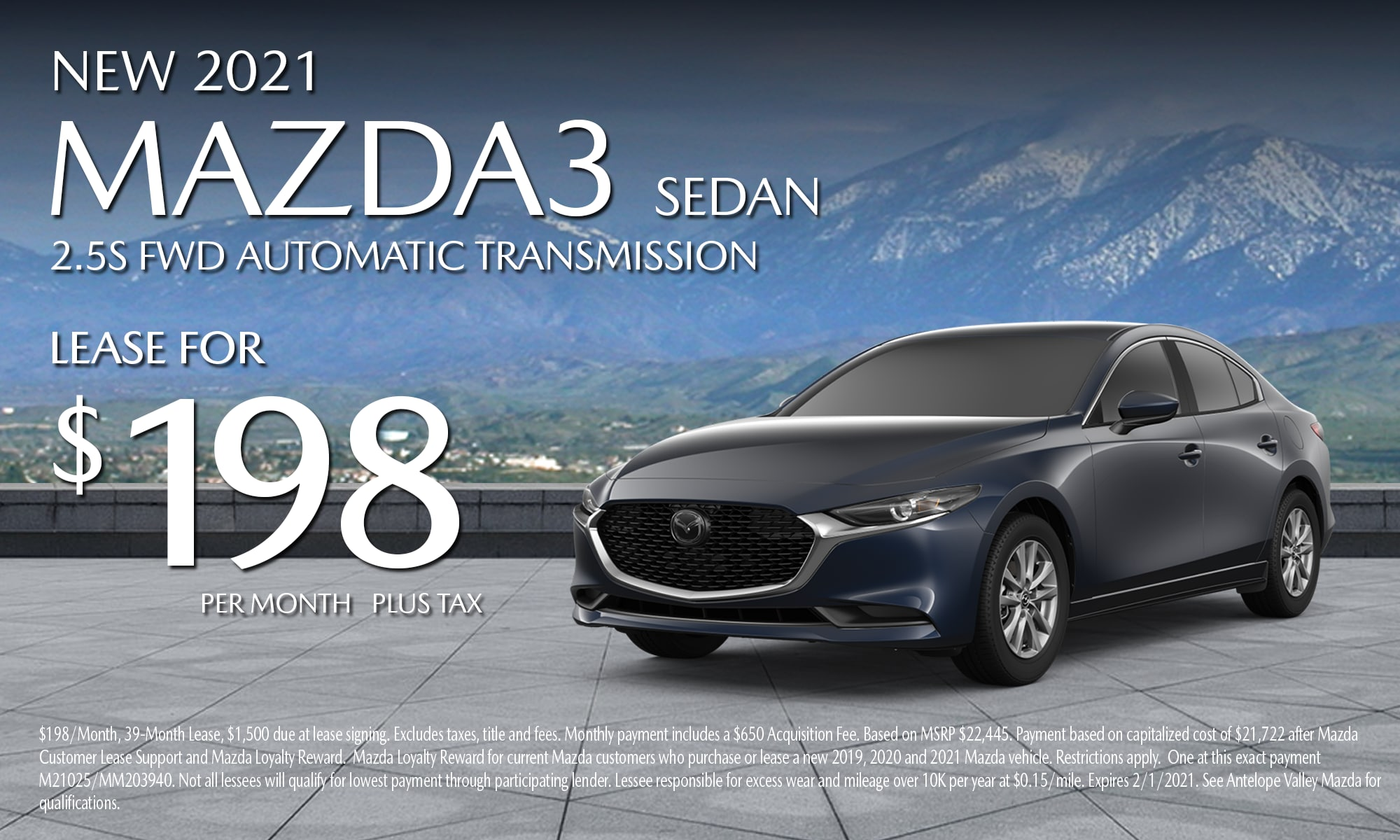 Antelope Valley Mazda Special lease offer on 2021 Mazda3