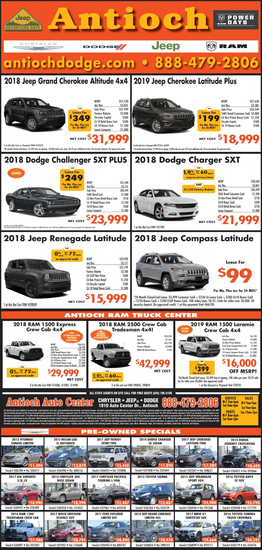 Antioch Chrysler Jeep Dodge Ram Specials! (click Image To Enlarge)