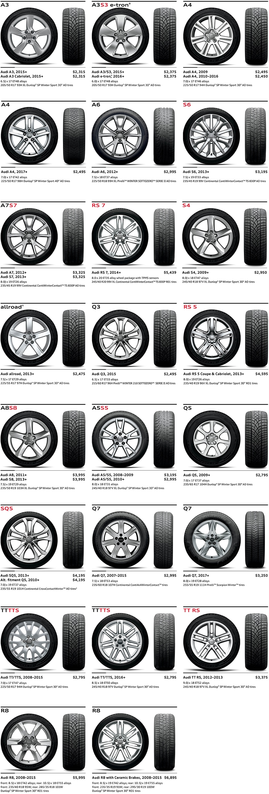 audi winter wheel and tire package