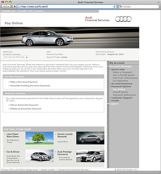Screenshot of the AFS account dashboard for Audi Financial Services
