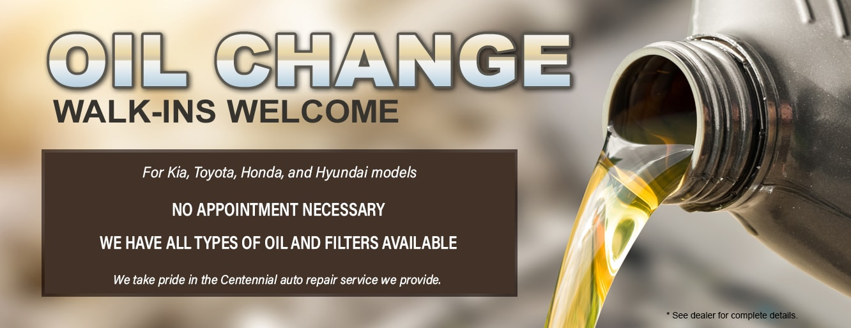 Kia Oil Change Walk-Ins Welcome in Centennial CO