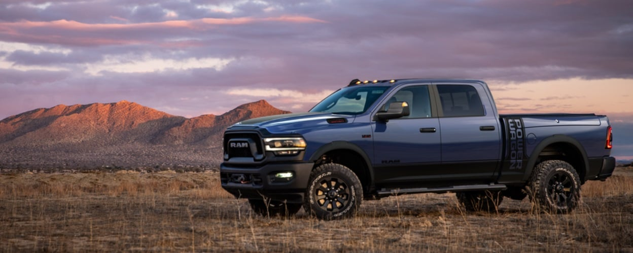 Blue 2021 Ram 2500 Powerwagon in front of mountains