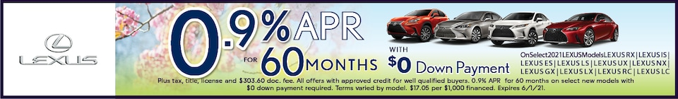 0.9% APR for 60 Months