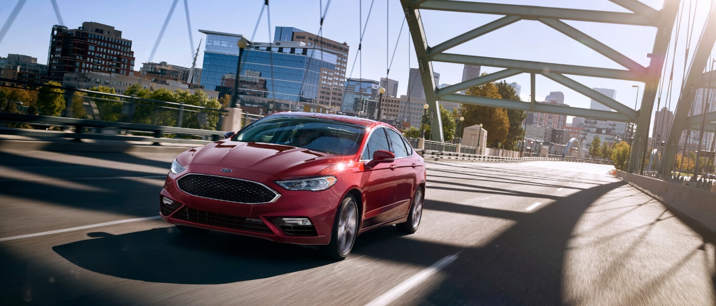 2019 Ford Fusion driving on bridge