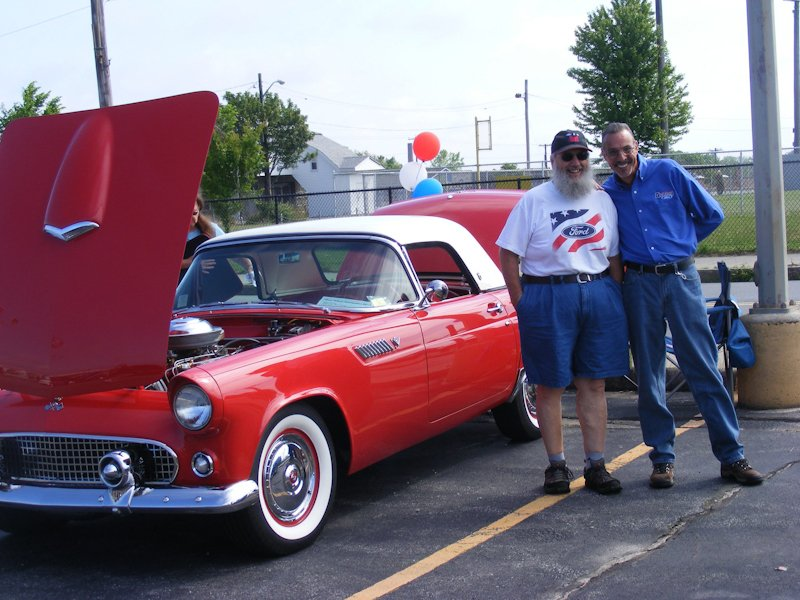 Everette (Salt) Philla and Wayne Faria posing with Salt's 1955 T-Bird.