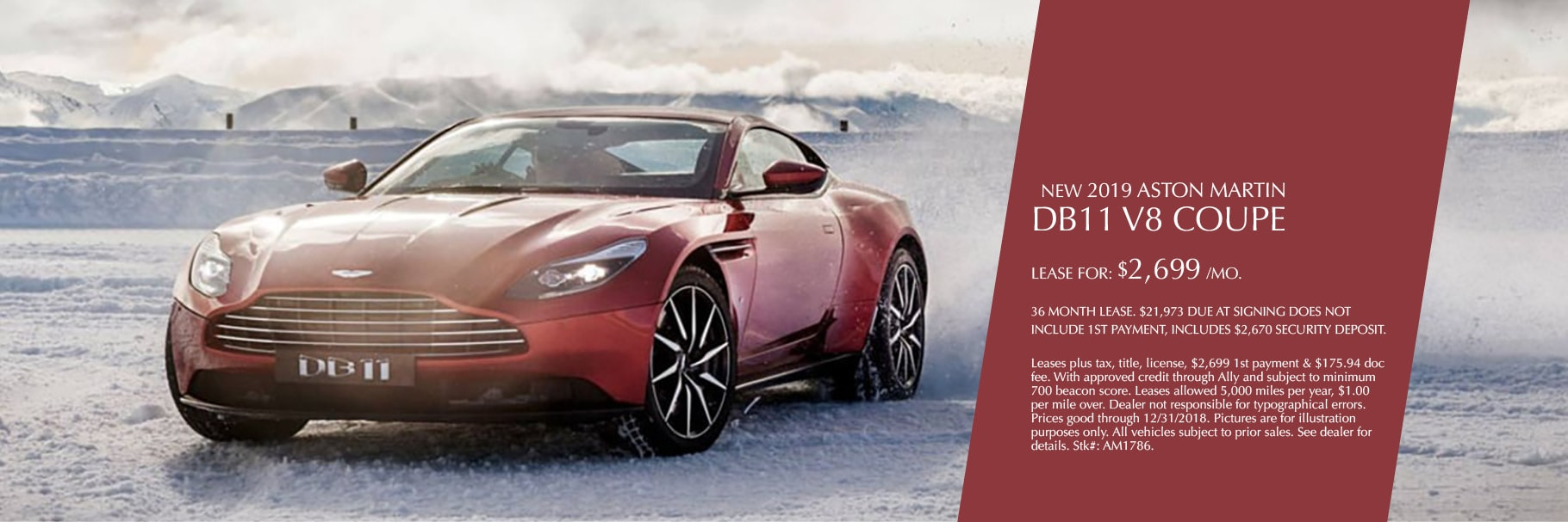 New 2019 Aston Martin DB11 V8 Coupe Lease