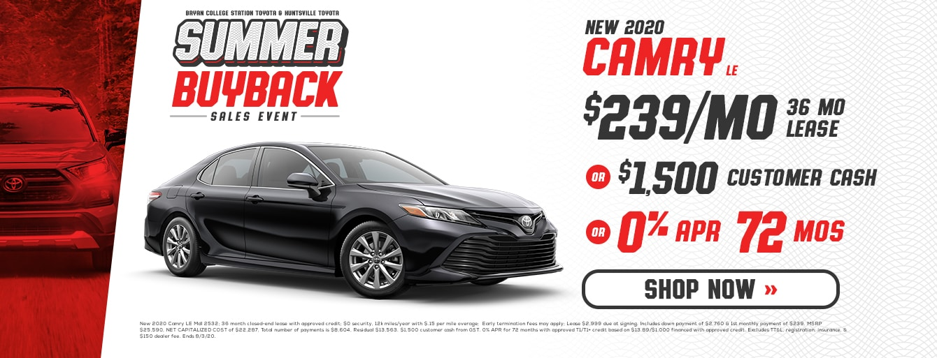 New 2020 Camry at Bryan College Station Toyota
