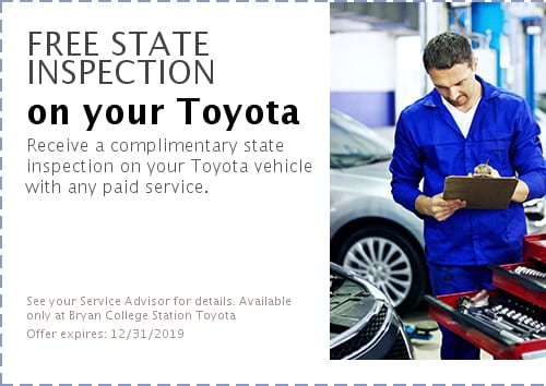 Car Inspection College Station >> Service Specials Bryan College Station Toyota