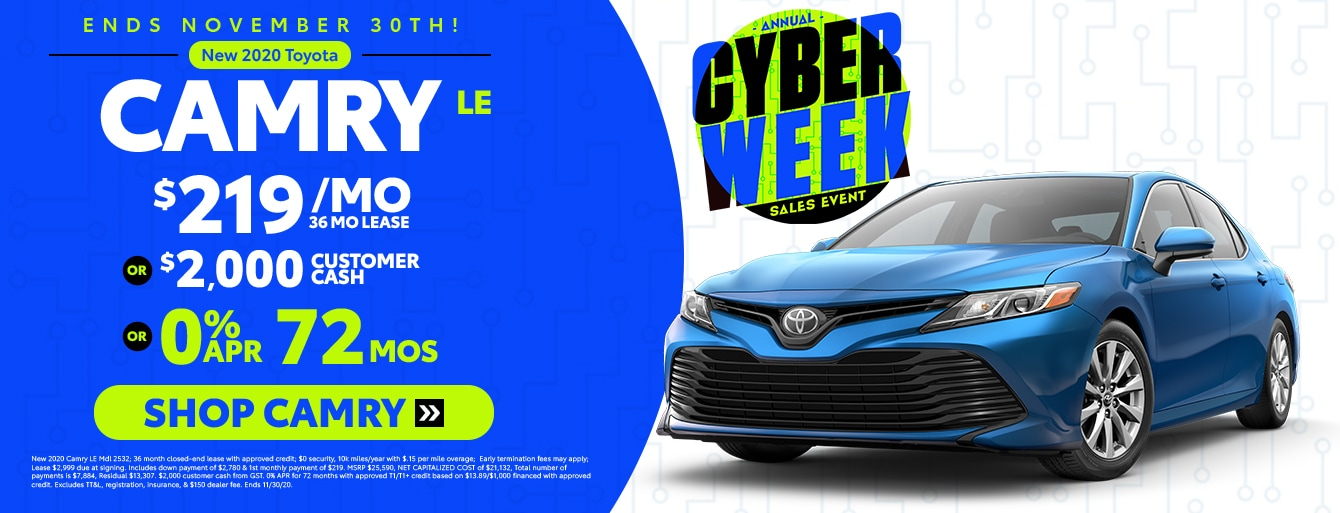 New 2020 Camry Cyber Week Special at Huntsville Toyota