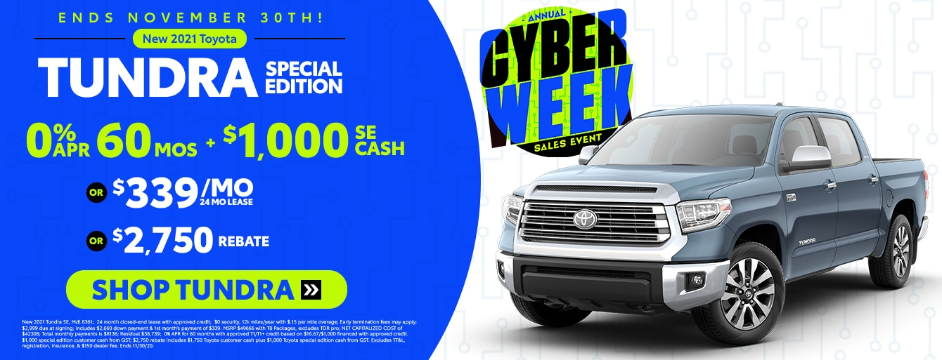 New 2021 Tundra Cyber Week Special
