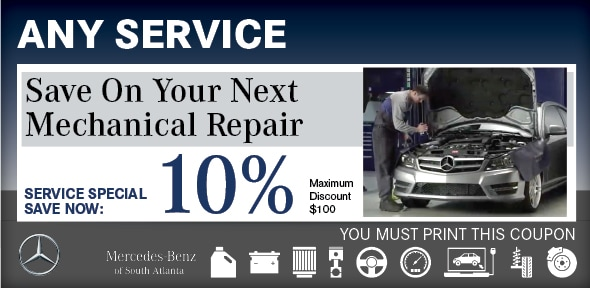 Percentage Discount Coupon Atlanta Auto Service MercedesBenz - Mercedes benz service coupons
