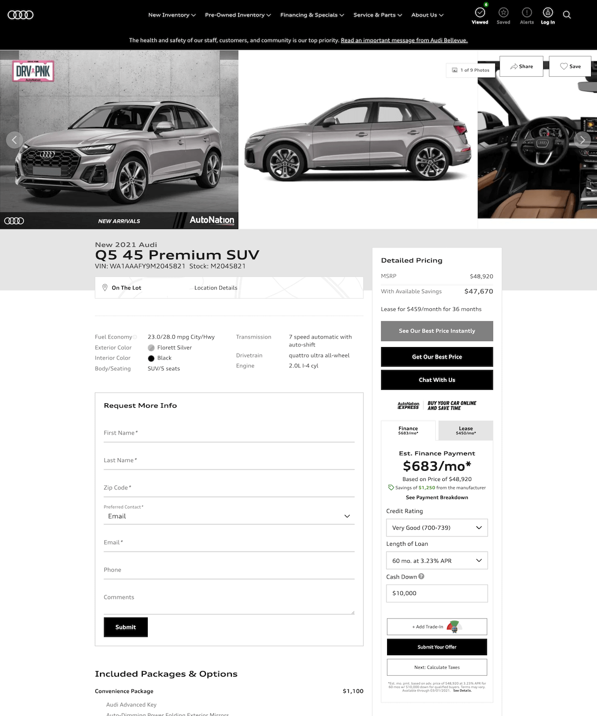 Audi Plano vehicle details page