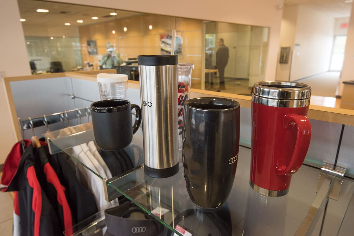 Audi-branded cups and mugs for sale at Audi Bellevue