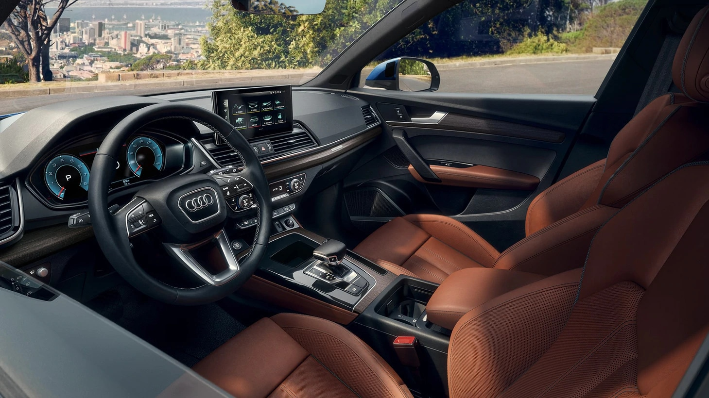 2021 Audi Q5 interior in available Okapi Brown with Granite Gray stitching