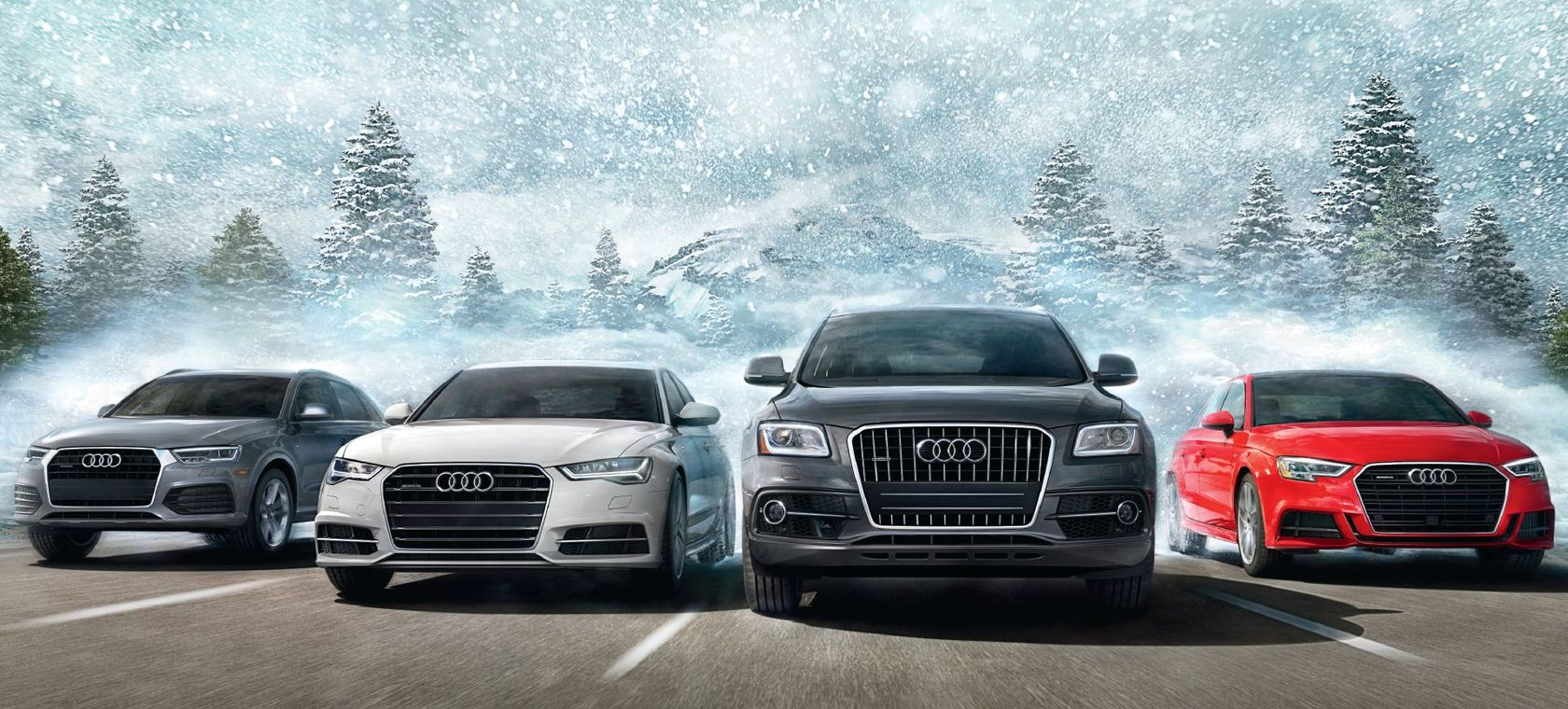 Audi model lineup with quattro® all-wheel drive
