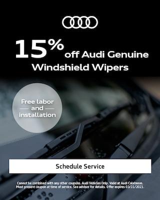 15% off Audi Genuine Windshield Wipers