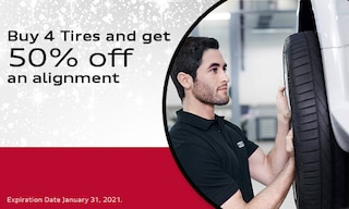 Buy 4 Tires and get 50% off an alignment