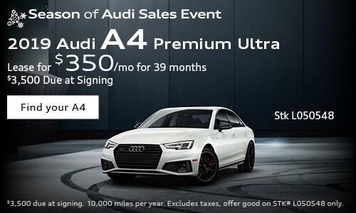 2019 Audi A4 $350/mo. Lease