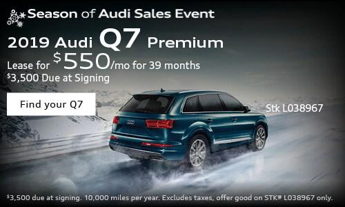 2019 Audi Q7 $550/mo. Lease
