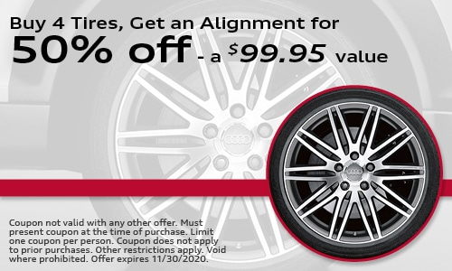 Buy 4 Tires, Get an Alignment for 50% off - a $99.95 value