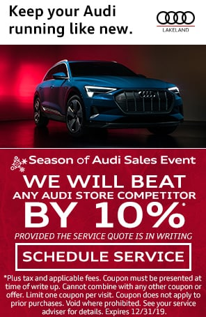 We will beat any Audi Store Competitor by 10% at Audi Lakeland