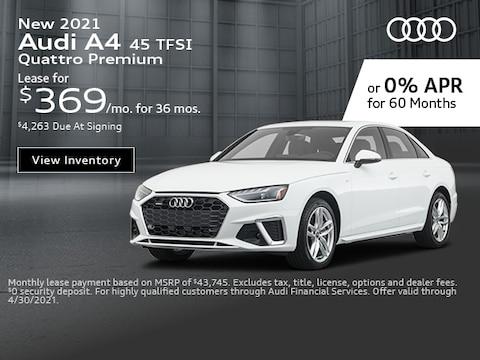 New 2021 Audi A4 45 TFSI Quattro Premium - April