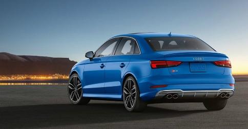 2018 Audi S3 back end in Ara Blue