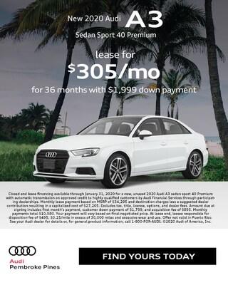 2020 Audi A3 Sedan Sport 40 Premium Special Lease*