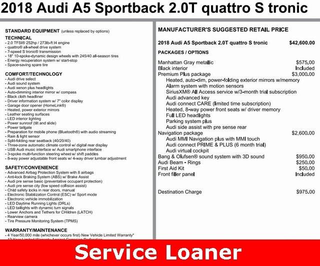 2018 Audi A5 2.0T Premium Sportback